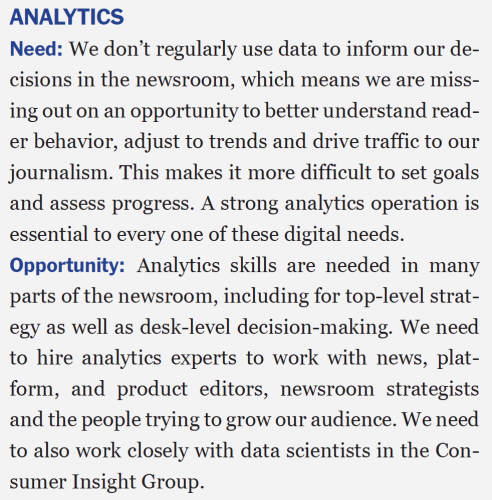 Extrait du rapport Innovation. Page 93 : « Assessing the newsroom digital needs »